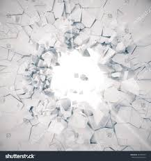 Concrete Wall by 3d Rendering Explosion Broken Concrete Wall Stock Illustration