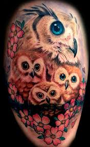 all and nice owl family tattoo idea with flower golfian com