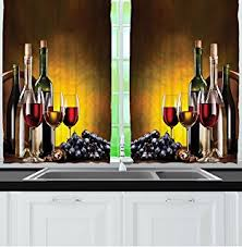 Kitchen Curtains With Grapes by Amazon Com Wine Winery Decor By Ambesonne Red Wine Bottles With
