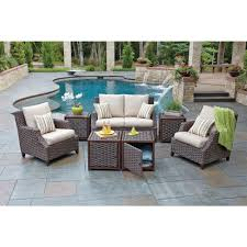Home Depot Wicker Patio Furniture - woodard santa monica 7 piece patio seating set with beige cushions