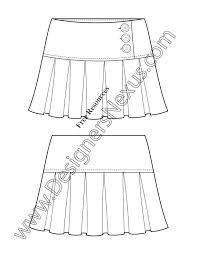 v54 short pleated skirt illustrator flat fashion sketch template