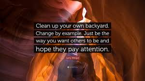larry winget quote u201cclean up your own backyard change by example