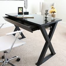 Metal And Glass Computer Desks Desks And Tables Kit Xtra 48 Glass Computer Desk Black