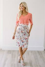 cream coral floral skirt for church modest bridesmaids dresses