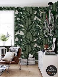 banana leaf wallpaper banana leaves drawing tropical wall zoom