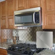 cozy backsplash stainless steel kitchen with shelf quilted tiles