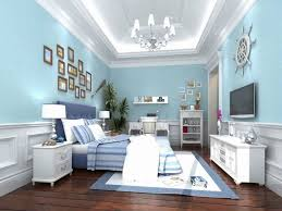 bedrooms light blue master bedroom with glass windows and white