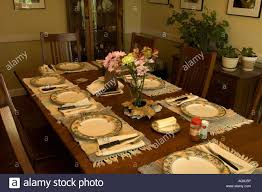 How To Set A Dining Room Table Dining Room Table Set Up For Meal Stock Photo 14130657 Alamy