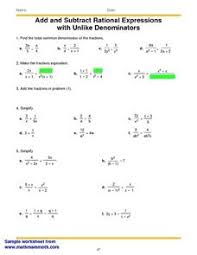 adding and subtracting rational expressions worksheet u0026 rational