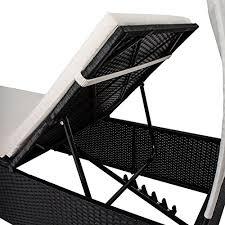 polyrattan gartenmöbel sonnenliege lounge ibiza l mit dach für 1