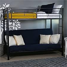 Amazoncom Sturdy Metal TwinoverFuton Bunk Bed In White Finish - Twin futon bunk bed