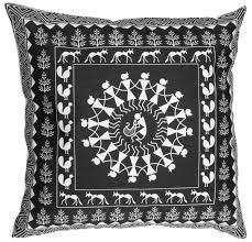 Cargo Furniture Cushion Covers Wholesale 18 X 18 Inch Decorative Black U0026 White Unique Warli Art