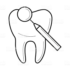 tooth and dental mirror icon vector illustration stock vector art