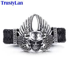 leather bracelet fashion images Trustylan hot sales stainless steel men 39 s bracelets fashion brand jpg