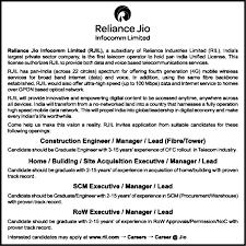 jobs in reliance jio infocomm limited rjil vacancies in