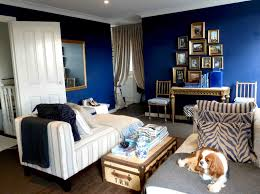 dark blue and gold bedroom home