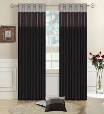 black grey silver faux silk three tone fully lined curtains eyelet ring top