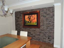 Faux Stone Accent Walls Contemporary Dining Room New York - Dining room accent wall