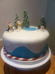Christmas Cake Decorations With Fruit by Snow Scene Christmas Cake Cakecentral Com
