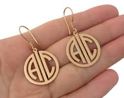 Gold Monogram Earrings Two Initial Monogram Etsy