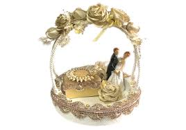 golden hand ring holder images Loops n knots white golden wedding engagement ring platter with jpg
