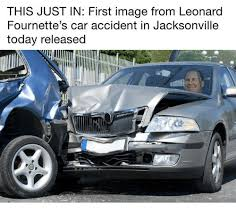 Car Accident Meme - this just in first image from leonard fournette s car accident in
