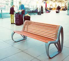 public bench contemporary cast aluminum in wood vesuvio by