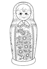 free printable colouring page russian dolls source