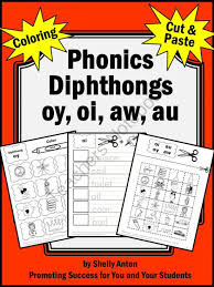 phonics diphthongs oy oi aw au coloring cut and paste literacy