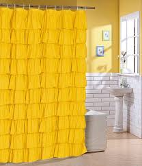 amazon com flamenco ruffle shower curtain yellow home u0026 kitchen