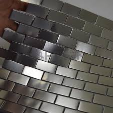 stainless steel home decor silver drawbench stainless steel mosaic tiles brick wall backsplash