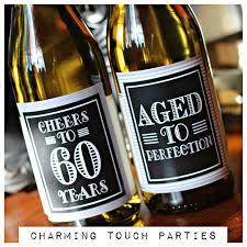 celebrating 60 years birthday 60th birthday party decor wine labels set of 4 black grey