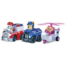 paw patrol racers 3 pack vehicle rescue marshall spy chase