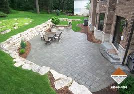 Stone Patio With Fire Pit Stone Patio And Firepit With Outcropping Wall D M Outdoor Living