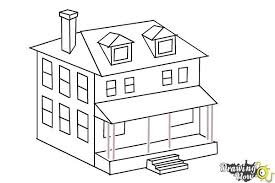 house to draw how to draw a house two story house drawingnow