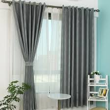 Duck Egg Blue Blackout Curtains Dark Gray Polyester Jacquard Blackout Curtain For Bedroom