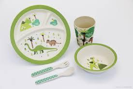 2017 set green dinosaur print baby bamboo dinner sets eco