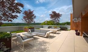 Patio Terrace Design Ideas Exterior Modern Roof Terrace Design With Stylish Grey Sofa Set
