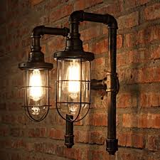 Industrial Wall Sconce Industrial Wall Sconce Nautical Style With Bronze Metal Cage Frame
