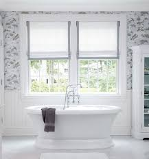 beautiful bathroom will dusty blue and gray and white patterned