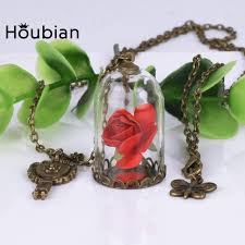 rose glass necklace images Houbian retro crystal necklace rose glass bottle necklace beauty jpg
