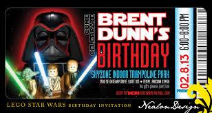 nealon design lego star wars birthday invitation ticket