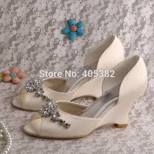 Wedding Shoes Ivory Aliexpress Com Buy Wedopus Mw518 Women Wedge Heel Bridal Peep