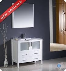 White Bathroom Vanity With Vessel Sink 36