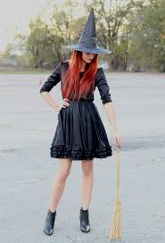 Red Witch Halloween Costume Black Dress Witch Hat Pointy Boots Broom Easy