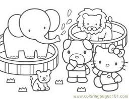 free printable coloring page hello kitty zoo cartoons 505044
