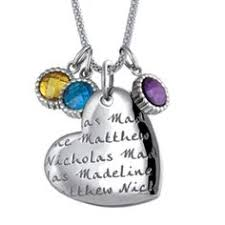 Engravable Heart Necklace Birthstone Family Tree Necklace With Names Family Tree Necklace