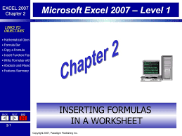 excel chapter 2 inserting formulas in a worksheet