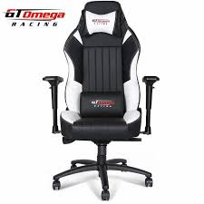 gt omega evo xl racing office chair black and white leather