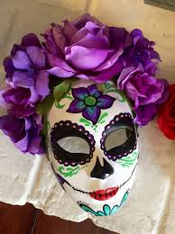 Day Of The Dead Masks Day Of The Dead Mask With Flowers Dia De Los Muertos Sugar Skull